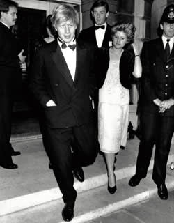 Boris Johnson with sister Rachel at Viscount Althorp's 21st birthday party, 1985