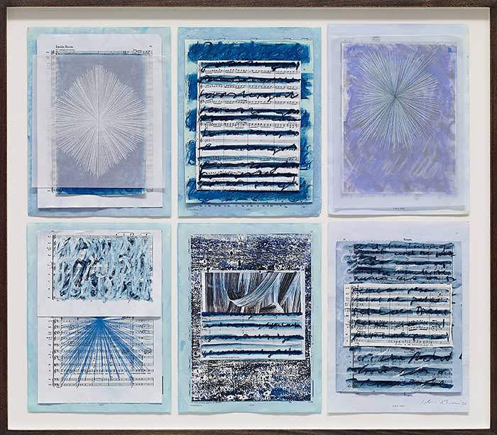 Idris Khan Collage with 6 drawings, 2019Oil and mixed media on artist's giclée print in 6 parts69.5 x 79.3 cm framed27 3/8 x 31 1/4 in framed© Idris Khan Courtesy the artist and Victoria Miro