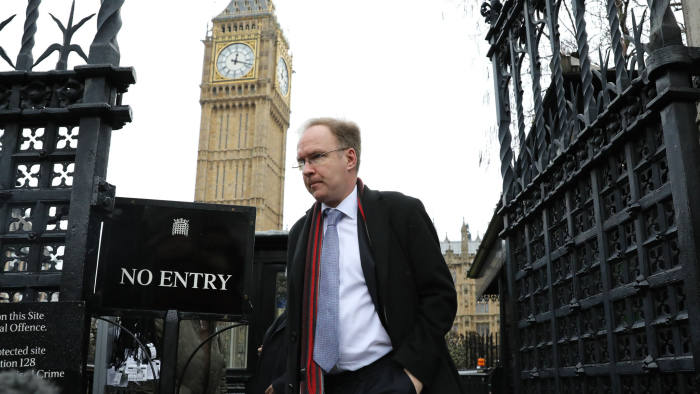 Ivan Rogers, former U.K. envoy to the European Union (EU), leaves after being questioned by parliament's European Scrutiny Committee at the Palace of Westminster in London, U.K., on Wednesday, Feb. 1, 2017. In December, U.K. Prime Minister Theresa May's office played down remarks attributed to Rogers, that it could take 10 years to negotiate a final free-trade deal. Photographer: Simon Dawson/Bloomberg