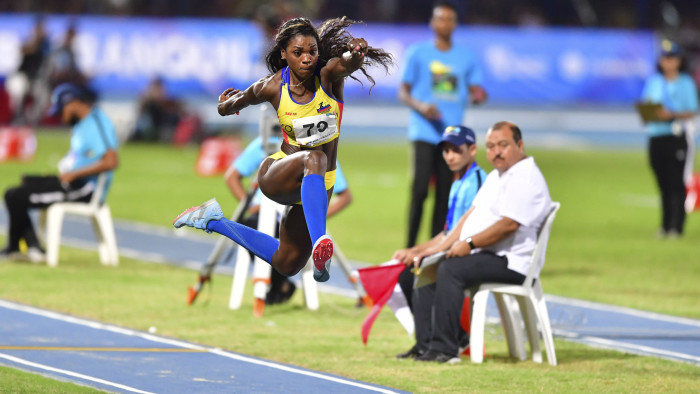 Colombia's Caterine Ibarguen competes in the women's triple jump event during the 2018 Central American and Caribbean Games (CAC) in Barranquilla, Colombia, on August 1, 2018. (Photo by Luis ACOSTA / AFP) (Photo credit should read LUIS ACOSTA/AFP/Getty Images)