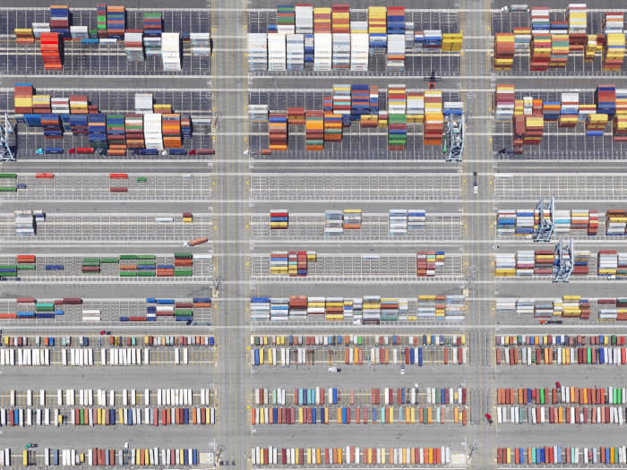 An aerial exploration of shipping yards