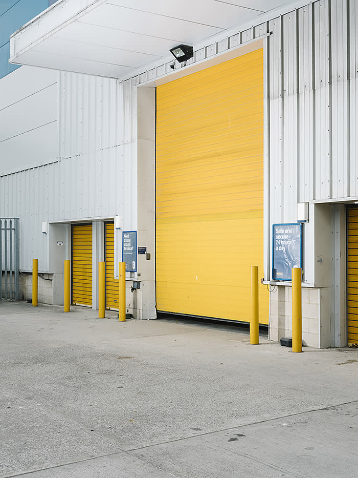 Rear entrance, Safestore Self Storage, Charlton, London, photographed for FT Magazine, July 2018