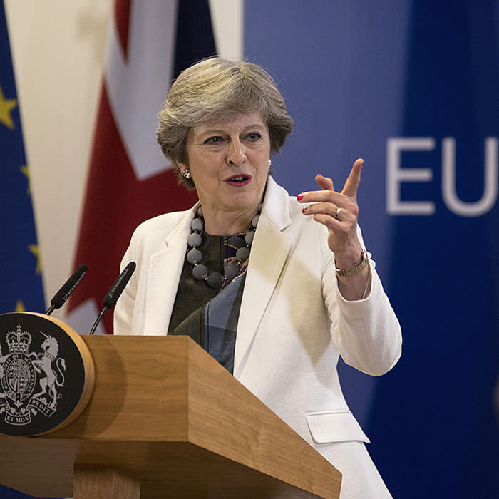 BRUSSELS, BELGIUM - OCTOBER 20: Britain's Prime Minister Theresa May holds a press conference on the second day of European Council meetings at the Council of the European Union building on October 20, 2017 in Brussels, Belgium. Britain's Prime Minister Theresa May attended meetings yesterday with the other 27 EU leaders, which concluded with a dinner speech, in which she asked that she could strike a Brexit deal that she can defend to UK voters. (Photo by Dan Kitwood/Getty Images)