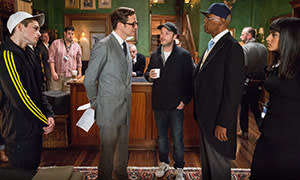 Firth on set with director Matthew Vaughn and Samuel L Jackson