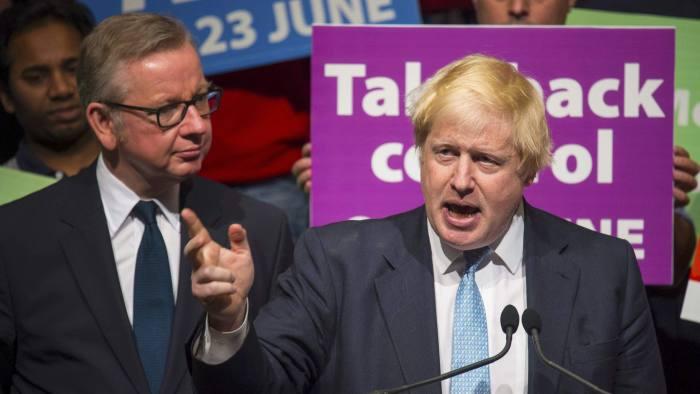 Former London Mayor Boris Johnson speaks as Michael Gove listens at a Vote Leave rally in London, Britain June 19, 2016.  Dominic Lipinski/Press Association via REUTERS