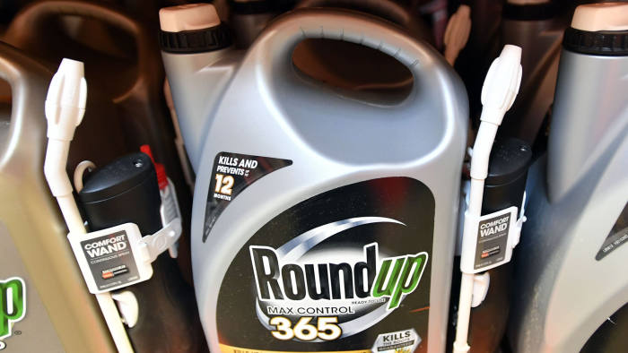 (FILES) In this file photo taken on July 9, 2018 Roundup products are seen for sale at a store in San Rafael, California. - The controversial Roundup weedkiller goes on trial again February 25, 2019 in the United States, six months after a groundskeeper won the first-ever lawsuit accusing the chemical of causing cancer. Roundup, a brand owned by German chemicals and pharmaceuticals giant Bayer after its purchase of US-based Monsanto last year, contains glyphosate which environmentalists and other critics have long believed causes cancer.Glyphosate is used in weed-killers made by several companies, and is currently the most used herbicide around the world. (Photo by JOSH EDELSON / AFP)JOSH EDELSON/AFP/Getty Images