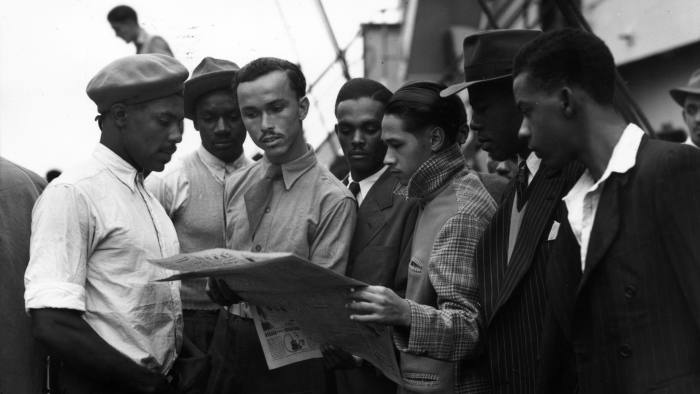 22nd June 1948: Newly arrived Jamaican immigrants on board the 'Empire Windrush' at Tilbury. (Photo by Douglas Miller/Keystone/Getty Images)