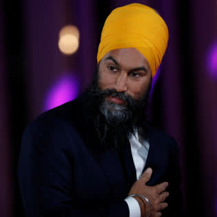New Democratic Party (NDP) leader Jagmeet Singh attends a news conference after the French language federal election debate at the Canadian Museum of History in Gatineau, Quebec, Canada October 10, 2019. REUTERS/Stephane Mahe