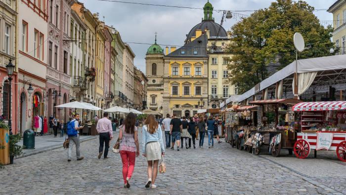 H87WE4 The Rynok Square in Lviv,Ukraine