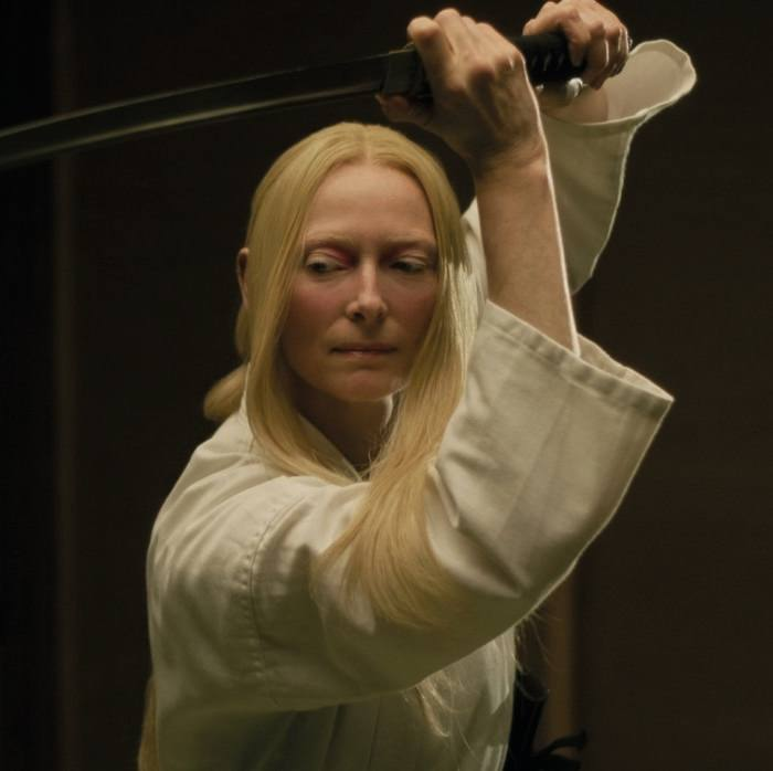 Tilda Swinton swings a samurai sword in 'The Dead Don't Die'