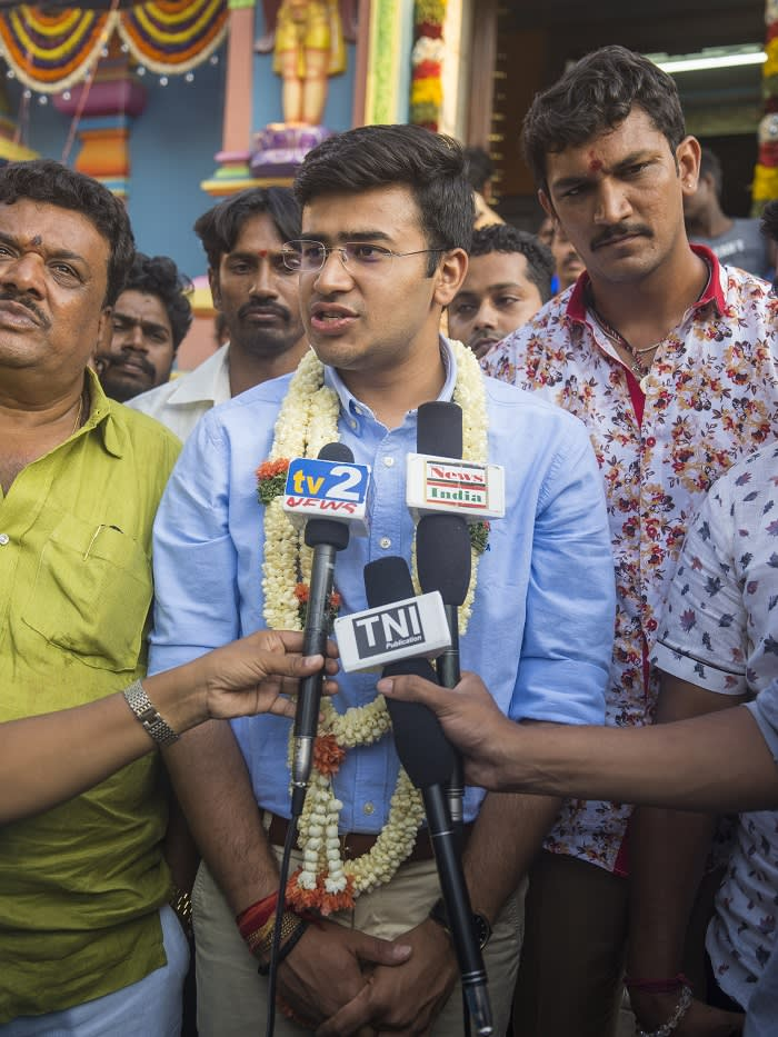 Tejasvi Surya, the 28-year-old candidate for the right wing Hindu Nationalist BJP in the ongoing National Elelections addresses the media outside a Hindu Temple in Bangalore South.
