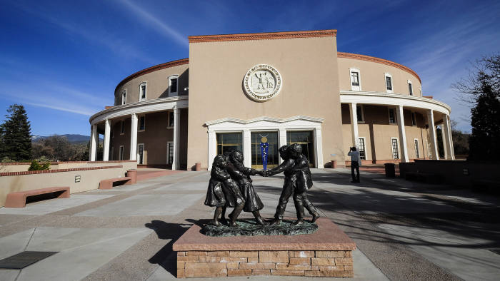 SANTA FE, NM - 2016: The New Mexico State Capitol, the only round state capitol in the United States, is informally known as 'the Roundhouse'. (Photo by Robert Alexander/Getty Images)