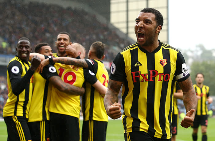 BURNLEY, ENGLAND - AUGUST 19: Troy Deeney of Watford celebrates with teammates after scoring his sides second goal during the Premier League match between Burnley FC and Watford FC at Turf Moor on August 19, 2018 in Burnley, United Kingdom. (Photo by Jan Kruger/Getty Images)