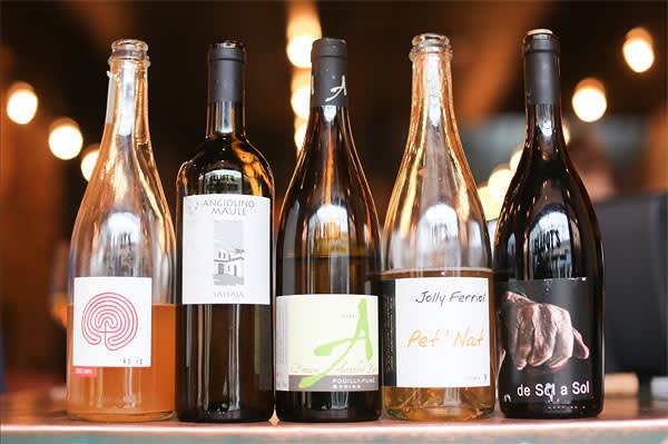 Five bottles of natural wine