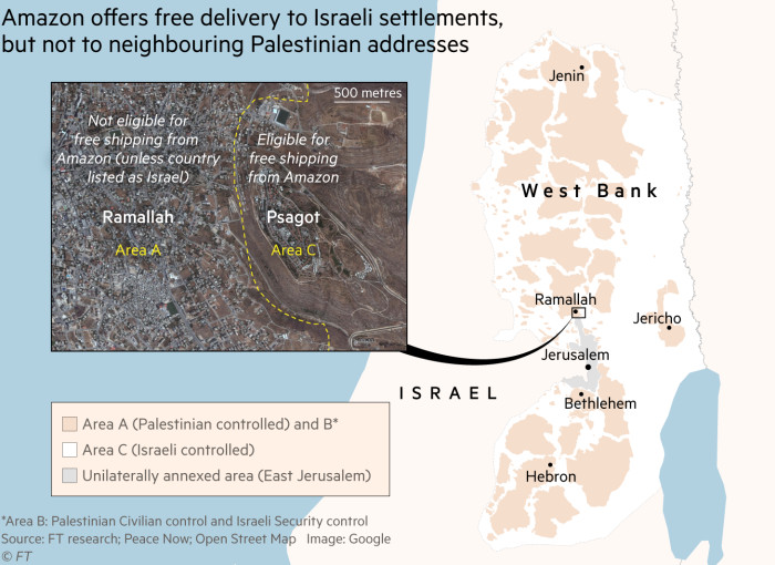 Map showing free Amazon delivery in the West Bank