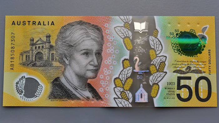 Mandatory Credit: Photo by DYLAN COKER/EPA-EFE/REX/Shutterstock (10232187e) A close-up view of a current circulation 50 Australian dollar note printed with the word 'responsibility' spelt incorrectly in Sydney, New South Wales, Australia, 09 May 2019. Australian 50 dollar note misspells responsibility, Sydney, Australia - 09 May 2019