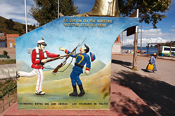 A mural in San Pedro de Tiquina, Bolivia, depicting the war of the Pacific