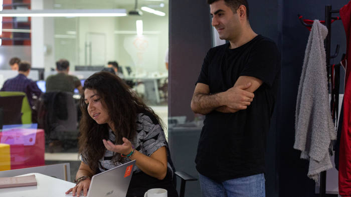 Gizem Akdas, 28 (left) and her business partner Umut Kaymaz, 29 (right) of Pet Surfer, in their working space on the campus of Istanbul Technical University (İstanbul Teknik Üniversitesi)