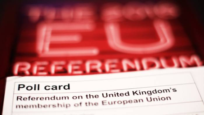 File photo dated 02/06/16 of a polling card and voting guide for the 2016 EU referendum, as new figures show that the referendum could end as a dead heat between Remain and Leave if the difference in turnout between young and old voters mirrors the 2015 general election. PRESS ASSOCIATION Photo. Issue date: Tuesday June 7, 2016. The findings come as time is running out for people to register to vote in the referendum, with the deadline for applications 11.59pm tonight. See PA story POLITICS EU Turnout. Photo credit should read: Yui Mok/PA Wire