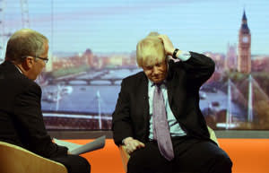 Journalist Eddie Mair questions Boris Johnson's integrity on BBC television in March 2013