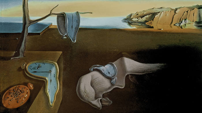 XIR156893 The Persistence of Memory, 1931 (oil on canvas) by Dali, Salvador (1904-89); 24x33 cm; Museum of Modern Art, New York, USA; (add.info.: exhibited at the centre Pompidou 1980 no.105;); Spanish, in copyright. PLEASE NOTE: This image is protected by the artist\'s copyright which needs to be cleared by you. If you require assistance in clearing permission we will be pleased to help you.