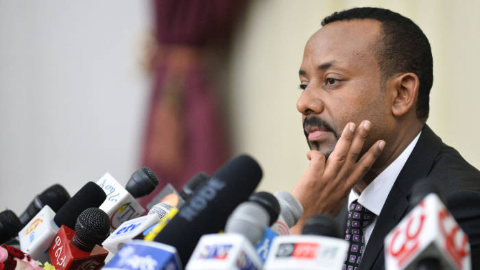 Ethiopia's Prime minister Abiy Ahmed speaks during a press conference at his office in Addis Ababa, on August 25, 2018. (Photo by Michael Tewelde / AFP)MICHAEL TEWELDE/AFP/Getty Images