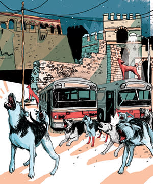 Illustration of howling dogs