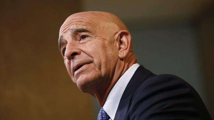 Tom Barrack, chairman of Colony NorthStar Inc., speaks during a Bloomberg Television interview at the Milken Institute Global Conference in Beverly Hills, California, U.S., on Tuesday, May 1, 2018. Barrack discussed an event he hosted for Vice President Pence, tension in the Middle East, the blockade of Qatar, working with the Public Investment Fund in Saudi Arabia, and Special Counsel Robert Mueller's Russia probe. Photographer: Patrick T. Fallon/Bloomberg