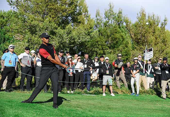 LAS VEGAS, NV - NOVEMBER 23: Tiger Woods plays a shot on the tenth hole during The Match: Tiger vs Phil at Shadow Creek Golf Course on November 23, 2018 in Las Vegas, Nevada. (Photo by Christian Petersen/Getty Images for The Match)