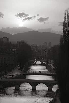 The river Miljacka, Sarajevo. The fourth bridge from the front, now the Latin Bridge, was renamed in honour of Princip in postwar Yugoslavia