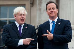 Boris Johnson with David Cameron at the lighting of the Paralympic Cauldron in Trafalgar Square, August 2012
