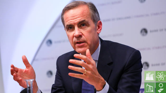 Mark Carney, governor of Bank of England (BOE), gestures while speaking during the Financial Stability Report news conference at the central bank in the City of London, U.K., on Wednesday, Nov. 28, 2018. The U.K. could suffer the worst economic slump since at least World War II if Prime Minister Theresa May fails to get her Brexit plan past lawmakers and the country crashes out of the European Union without a deal. Photographer: Simon Dawson/Bloomberg