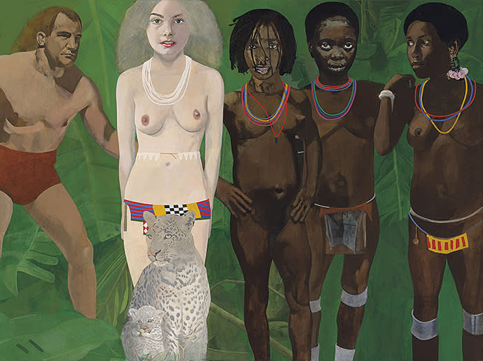 Peter Blake Tarzan Meets the Jungle Goddess, 1970s–1994 oil on canvas 36 1/4 x 48 in / 92.1 x 121.9 cm Our ref. B45173