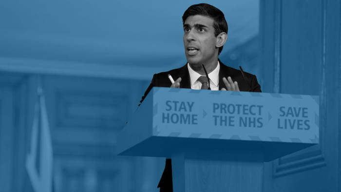 FT Montage. Britain's Chancellor of the Exchequer Rishi Sunak speaks at the daily coronavirus outbreak news conference at 10 Downing Street in London, Britain April 14, 2020. Andrew Parsons/10 Downing Street/Handout via REUTERS THIS IMAGE HAS BEEN SUPPLIED BY A THIRD PARTY. IMAGE CAN NOT BE USED FOR ADVERTISING OR COMMERCIAL USE. IMAGE CAN NOT BE ALTERED IN ANY FORM. NO RESALES. NO ARCHIVES
