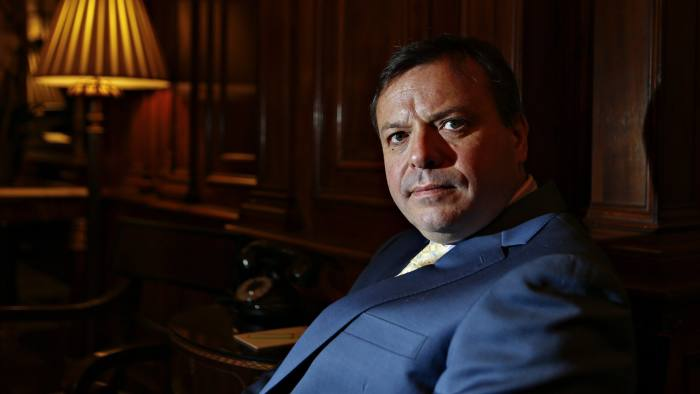 Arron Banks, co-founder of Leave.EU, sits for a photograph at the Hay-Adams hotel in Washington, D.C., U.S., on Monday, May 2, 2016. To build support for the U.K. to leave the European Union, Banks and Labour Party lawmaker Kate Hoey visited Washington last week for meetings with officials from the U.S. Treasury and State departments. Photographer: Andrew Harrer/Bloomberg