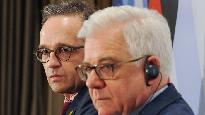 German Foreign Minister Heiko Maas (L) and his Polish counterpart Jacek Czaputowicz take part in a debate on relations between the two countries and the future of Europe, in Warsaw on April 12, 2019 (Photo by Alik KEPLICZ / AFP)ALIK KEPLICZ/AFP/Getty Images