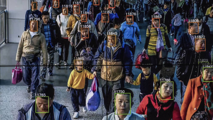 Monitors display a video showing facial recognition software in use at the headquarters of the artificial intelligence company Megvii, in Beijing, May 10, 2018. Beijing is putting billions of dollars behind facial recognition and other technologies to track and control its citizens. (Gilles SabriÈ/The New York Times) Credit: New York Times / Redux / eyevine For further information please contact eyevine tel: +44 (0) 20 8709 8709 e-mail: info@eyevine.com www.eyevine.com