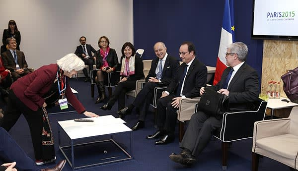 Tubiana at the UN conference with French president François Hollande (second from right) and foreign affairs minister Laurent Fabius (third from right)