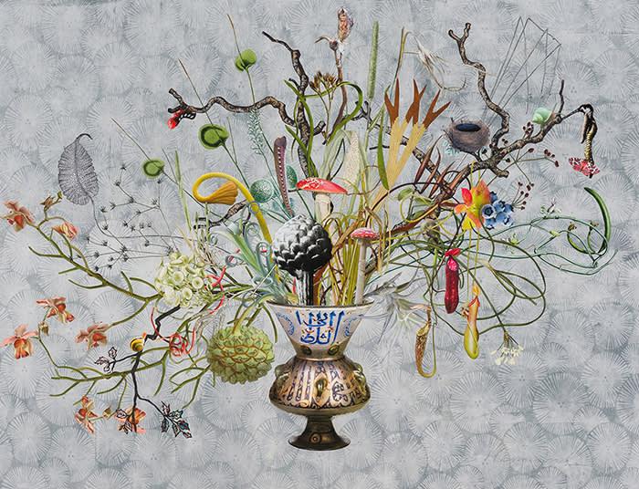 Jane Hammond, Islamic Glass with Pandorus Sphinx AdderÔÇÖs Tongue and Fly Agaric, 2018, 1500 +ù 1150px