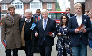 Boris Johnson's family, from left, brother Leo, father Stanley, Boris, wife Marina and brother Jo, Orpington, mayoral election day, May 3 2012