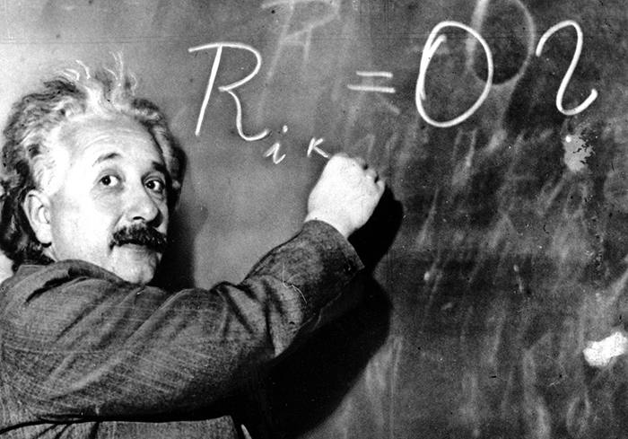 EINSTEIN...** FILE ** Dr. Albert Einstein writes out an equation for the density of the Milky Way on the blackboard at the Carnegie Institute, Mt. Wilson Observatory headquarters in Pasadena, Calif., in this Jan. 14, 1931 file photo. On Wednesday, Jan 19, 2005 German Chancellor Gerhard Schroeder will open the German Einstein year 2005, remembering the 100th birthday of Einstein's Special Theory of Relativity which proposed the existence of atomic energy. Einstein, who radically changed mankind's vision of the universe, was awarded the Nobel Prize for Physics in 1921. (AP Photo)