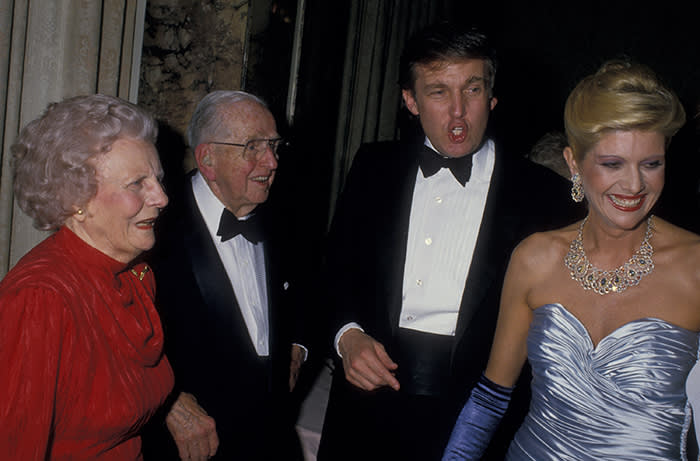 Donald and Ivana Trump with Norman Vincent Peale and his wife Ruth, New York, May 1988
