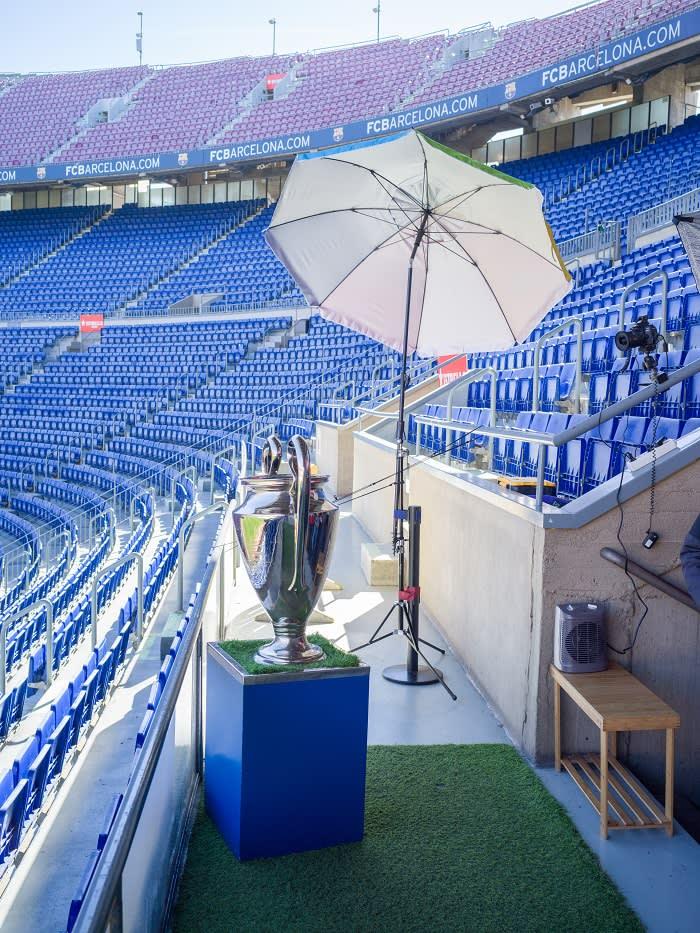 The Champions League trophy at Camp Nou