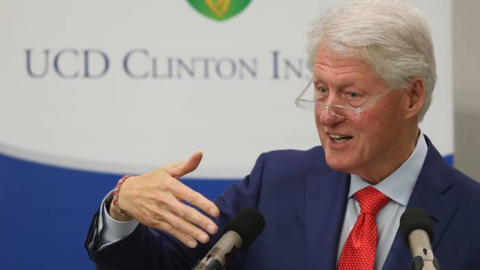 Former US President Bill Clinton during his speech to the University College Dublin on the eve of the 20th anniversary of the Good Friday Agreement. PRESS ASSOCIATION Photo. Picture date: Monday April 9, 2018. See PA story ULSTER GoodFriday. Photo credit should read: Niall Carson/PA Wire