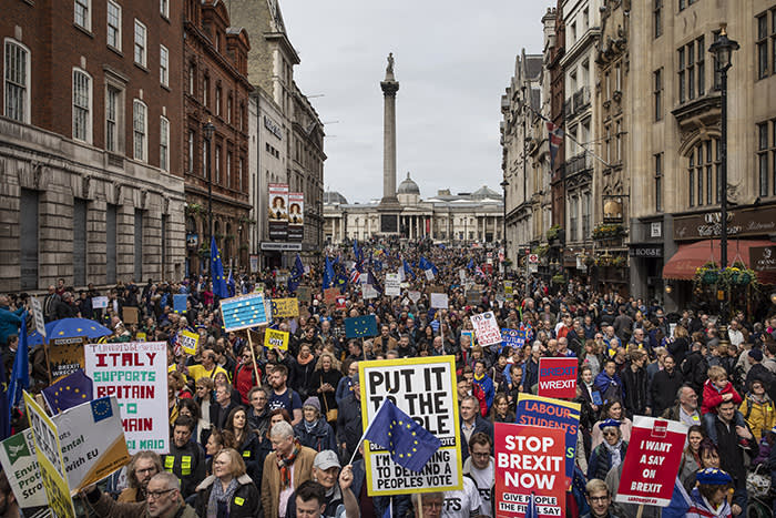 LONDON, UNITED KINGDOM - MARCH 23: Protesters take part in the Put It To The People March on Whitehall on March 23, 2019 in London, England. Thousands of protesters gathered in central London today to take part in the Put It To The People March. The march from Park Lane to Parliament Square was organised by the Peoples Vote campaign and is calling for a public vote on the Governments final Brexit deal. (Photo by Dan Kitwood/Getty Images)