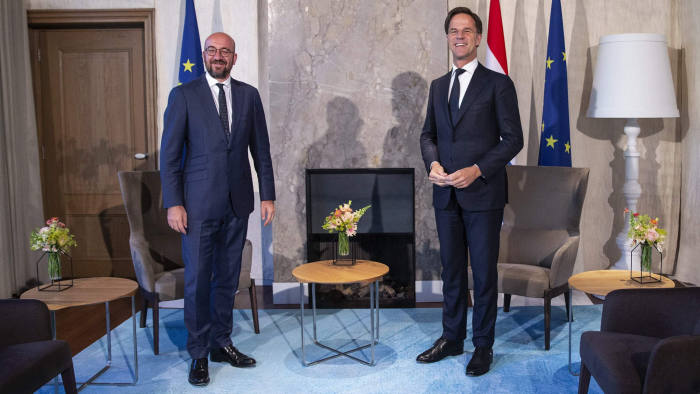President of the European Council Charles Michel (L) is welcomed by Dutch Prime Minister Mark Rutte prior to a working dinner at the Catshuis in The Hague, The Netherlands, on July 6, 2020, ahead of an European Council on July 17 and 18. (Photo by Pieter STAM DE JONGE / ANP / AFP) / Netherlands OUT (Photo by PIETER STAM DE JONGE/ANP/AFP via Getty Images)