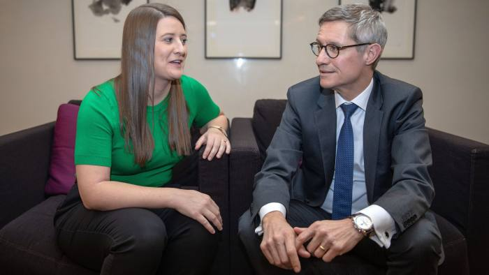 Lily Merrick and Henk Vanhulle. Reverse Mentoring scheme. 26/2/19. Linklaters LLP, One Silk St, London . For an online Special Report.