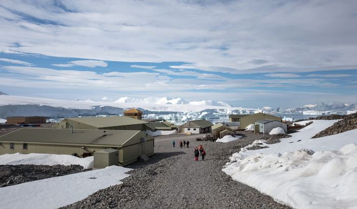 The British Antarctic Survey's Rothera base, surrounded by icebergs