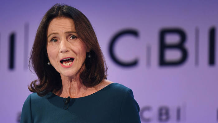 Mandatory Credit: Photo by ANDY RAIN/EPA-EFE/REX/Shutterstock (9983923g) Director General of the Confederation of British Industry (CBI) Carolyn Fairbairn speaks at the annual CBI Conference in London, Britain, 19 November 2018. Reports state that guest speaker British Prime Minister Theresa May is to tell business leaders in her speech that her Brexit deal with the EU will allow Britain to take back control of its borders. Prime Minister Theresa May delivers speech at CBI Conference, London, United Kingdom - 19 Nov 2018