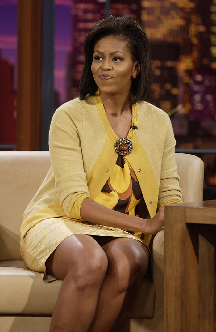 THE TONIGHT SHOW WITH JAY LENO -- Michelle Obama -- Air Date 10/27/2008 -- Episode 3644 -- Pictured: Michelle Obama during an interview on October 27, 2008 -- Photo by: Paul Drinkwater/NBCU Photo Bank
